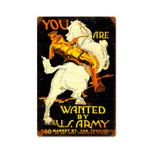 WtHorse USArmy Vintage Metal Sign Pasttime Signs