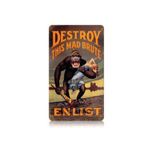 Destroy Kaiser Monkey Vintage Metal Sign Pasttime Signs