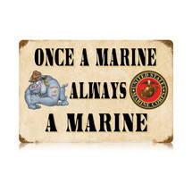 Once a Marine Vintage Metal Sign Pasttime Signs