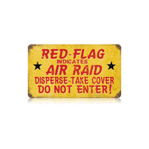 Red Flag Air Raid Vintage Metal Sign Pasttime Signs