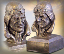 """Pilot Bust"" bronze-toned finish Sculpture by Michael Garman Garman Sculptures"