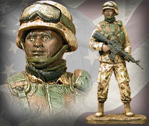"Sculpted Figures ""American Soldier African American Male - Handpainted"" Garman Sculptures"