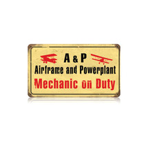 """Airframe Mechanic"" Vintage Metal Sign Pasttime Signs"
