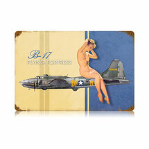 """B-17 Nude"" Vintage Metal Sign Pasttime Signs"