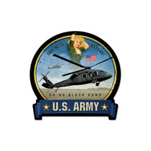 Army Blackhawk Round Banner Metal Sign Pasttime Signs