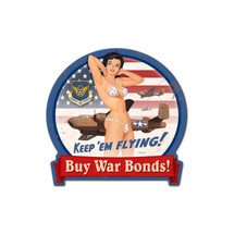B-25 War Bonds Round Banner Metal Sign Pasttime Signs