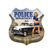 Police Department Shield Metal Sign Pasttime Signs