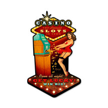 Casino Pinup Custom Metal Shape Pasttime Signs