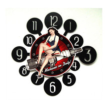 Spark Plug Pinup Layered Clock Pasttime Signs