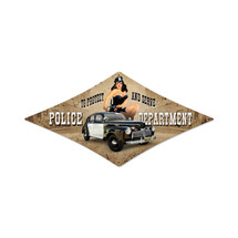 Police Department Diamond Metal Sign Pasttime Signs