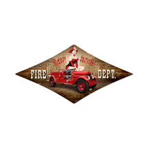 Fire Department Diamond Metal Sign Pasttime Signs