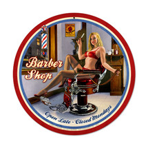 Barber Shop Round Metal Sign Pasttime Signs PT-HB062