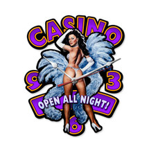 Casino Pinup Clock Custom Metal Shape Pasttime Signs