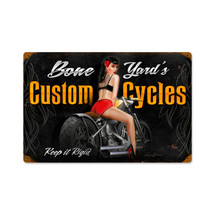 Bone Yard Cycles Vintage Metal Sign Pasttime Signs