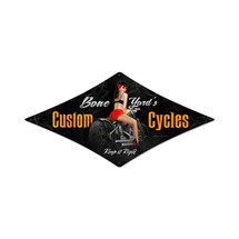 Bone Yard Cycles Diamond Metal Sign Pasttime Signs