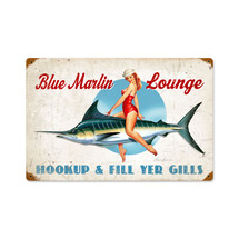 Blue Marlin Lounge Vintage Metal Sign Pasttime Signs