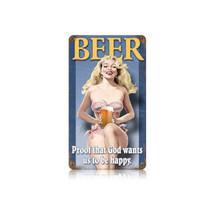 Beer Pin Up Vintage Metal Sign Pasttime Signs