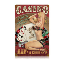 Casino Pinup Vintage Metal Sign Pasttime Signs