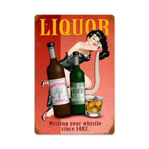 Liquor Pin-up Vintage Metal Sign Pasttime Signs