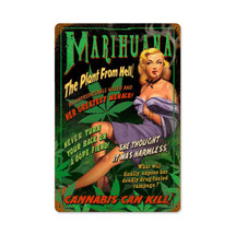 Marihuana Pin Up Vintage Metal Sign Pasttime Signs