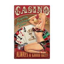 Casino Pinup Metal Sign Pasttime Signs
