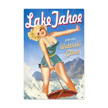 Lake Tahoe Pinup Metal Sign Pasttime Signs
