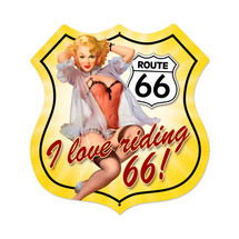 Route 66 Pinup Shield Metal Sign Pasttime Signs PT-VXL060