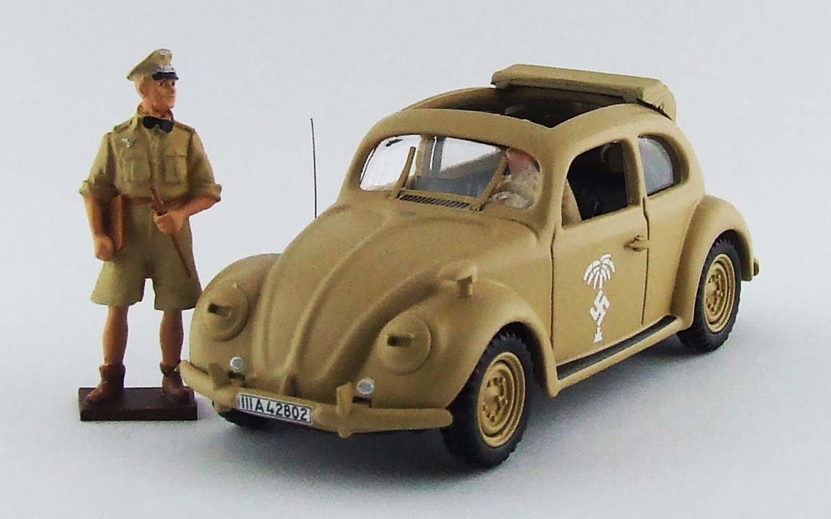 "Volkswagen Type 1 ""Beetle"" - Afrika Korps, 1941 w/ Rommel & Driver Figures, 1:43 Rio Models RIO ..."