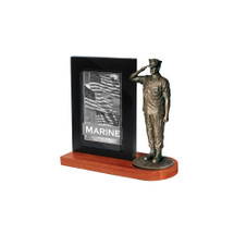 "Marine Photo Frame and 7"" Bronze Cold Cast Statue"