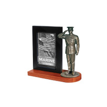 "Marine Dress Blues Photo Frame and 7"" Bronze Cold Cast Statue"