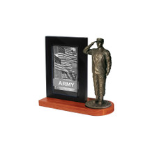 "Army Photo Frame and 7"" Bronze Cold Cast Statue"
