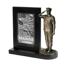 "Marine Black Photo Frame and 7"" Bronze Cold Cast Statue"