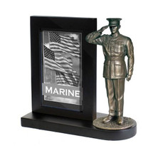 "Marine Dress Blues Black Photo Frame and 7"" Bronze Cold Cast Statue"