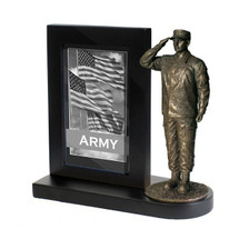 "Army Black Photo Frame and 7"" Bronze Cold Cast Statue"