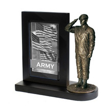"Army Specialist Black Photo Frame and 7"" Bronze Cold Cast Statue"