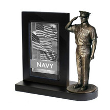 "Navy Chief Black Photo Frame and 7"" Bronze Cold Cast Statue"