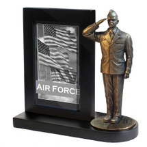 "Air Force Photo Frame Black Base and 7"" Bronze Cold Cast Statue"