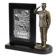 "Army Female Photo Frame Black Base and 7"" Bronze Cold Cast Statue"