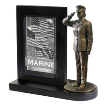 "Marine Female Photo Frame Black Base and 7"" Bronze Cold Cast Statue"