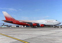 Rossiya Russian Airlines Boeing 747-400 EI-XLE With Stand