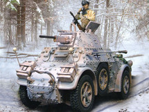 German AB 43 Armored Car with 3 Figures, Battle of the Bulge, 1944