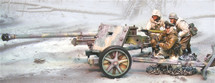 German PaK40 75mm Anti-Tank Gun with Three Crewman Winter Camouflage