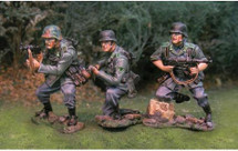 Panzer Lehr Tank Riders, three figures w/ removable bases