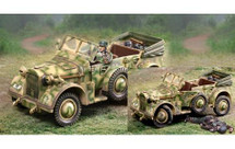Horch Normandy WWII, armored car and two figures