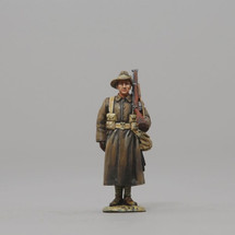 Australian Sentry Figure in Greatcoat w/ Blue for Queensland arm patch, WWI