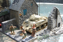 "Set D-Day Surrender"" Set #1-Sherman, Three Figures and Diorama Base"