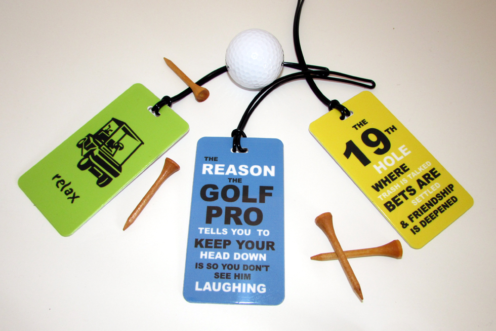 golf luggage tags bright colors fun sayings