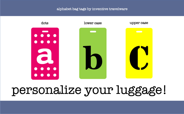 alphabet luggage tags