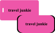 Travel Junkie luggage tag & handle wrap set - Fuchsia