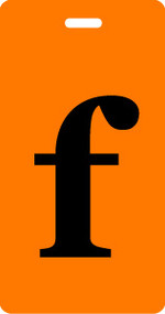 "Luggage Tag - Lower Case ""f"" - Orange/Black - Inventive Travelware"